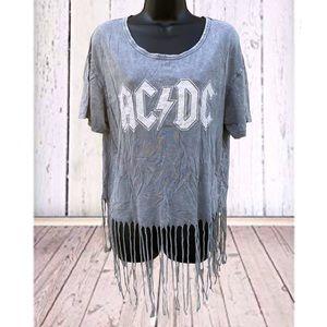 AC/DC graphic top | XXL | Gray fringe
